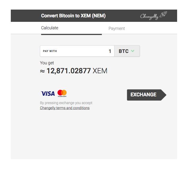 Convert Bitcoin to XEM (NEM)